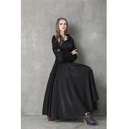 Vintage Long Puff Sleeves Ankle Length Black Dress