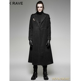 Black Gothic Military Uniform Woolen Coat For Men