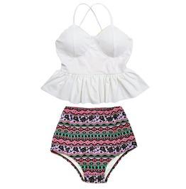 Mysterycat Women White Top Flora High Waist Bottom Swimsuit Swimwear