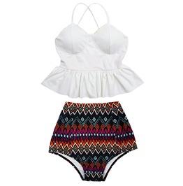 Mysterycat Women White Top Tribal High Waist Bottom Swimsuit Swimwear Set