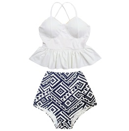 Mysterycat Women White Top Graphic High Waist Bottom Swimsuit Swimwear Set