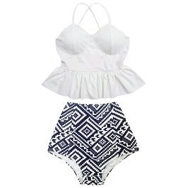 Mysterycat Women White Top Graphic High Waist Bottom Swimsuit Swimwear Set