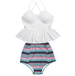 Mysterycat Women White Top Sky Blue High Waist Bottom Swimsuit Swimwear Set