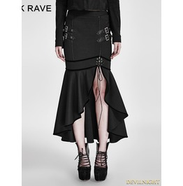 Black Gothic Military Uniform Half Skirt