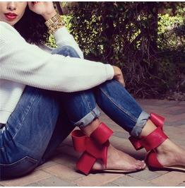 Big Bowknot Fashion Women Flats Sandals Shoes
