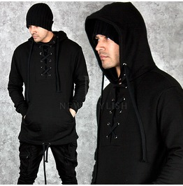 Eyelet Accent Kangaroo Pocket Black Hoodie 97