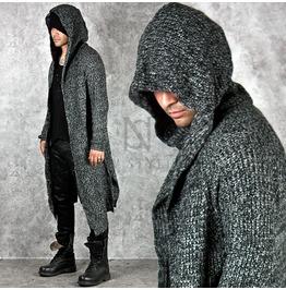 Avant Garde Knit Hood Long Charcoal Cardigan 75
