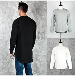 Unbalanced Bottom Hem Accent Cotton T Shirts 581