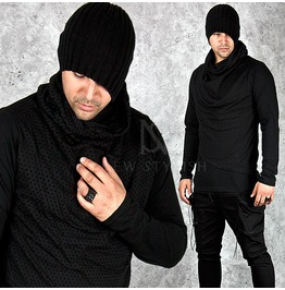 Punched Holes Accent Black Turtleneck Shirts 582