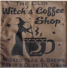 Witch Coffee Pillow Cushion Cover, Witchcraft, Witch, Wicca, Fortune Teller