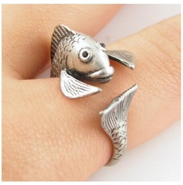 Fish Animal Ring Silver Gold Pisces Ring
