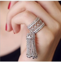 Zircon Micro Pave Wheat Fringed Tail Ring Piece Joint Ring Opening