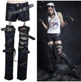 Women's Gothic Black/Blue Punk Rave Multipiece Pants