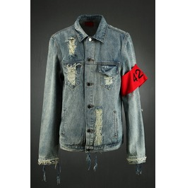 Washing Damage Armband Denim Jacket