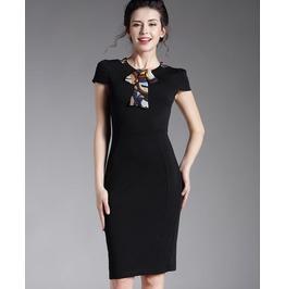 Short Sleeves Collar Scarf Pencil Black Dress