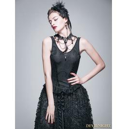 Black Gothic Jacquard Knitting V Neck Vest For Women