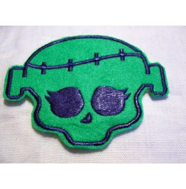 Embroidered Green Frankenstein Type Monster Patch Sew/Iron On