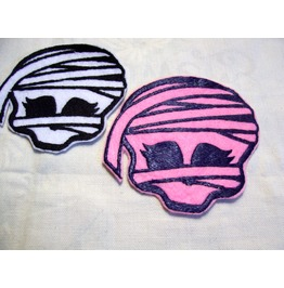 Embroidered Mummy Patch Sew/Iron On Pink Or White Color