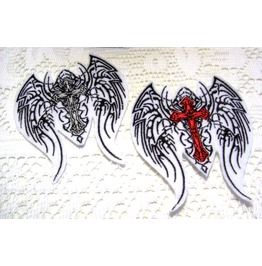 Embroidered Winged Gothic Cross Patch Sew/Iron On Two Colors Available