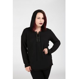 Sorcerer's Apprentice Black Hooded Plus Size Top