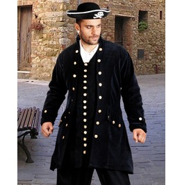 Mens Black Velvet Pirate Captain Coat Jacket Halloween Costume $9 To Ship