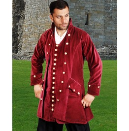 Mens Maroon Velvet Pirate Captain Coat Jacket Halloween Costume $9 To Ship
