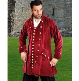 Mens Maroon Velvet Pirate Captain Coat Jacket Halloween Costume $9 To Ship