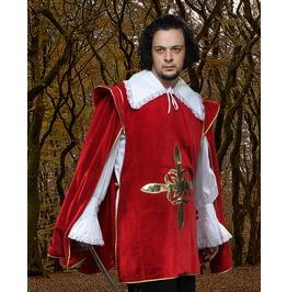 Mens Musketeer Red Velvet Coat Vest Jacket Halloween Costume