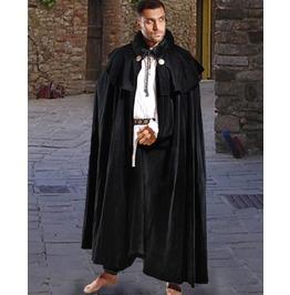 Unisex Black Cotton Medieval Cloak Cape Halloween Costume