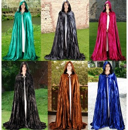 Unisex Velvet Medieval Cloak Cosplay Cape Halloween Costume $9 To Ship