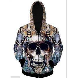 Fashion 3 D Digital Printing Color Skull Thread Cardigan Hoodie