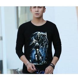 Men's Autumn Cotton Long Sleeved T Shirt Skeleton Motorcycle T Shirt