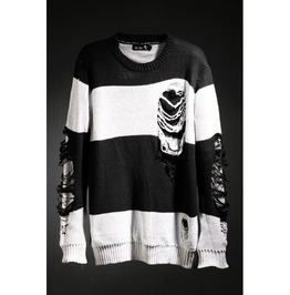 Hoodies Men Stripe Hard Damage Knits
