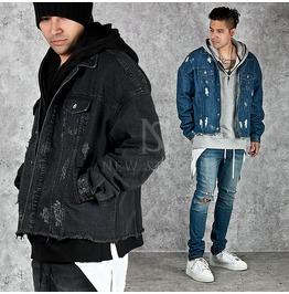 Distressed Boxy Denim Jacket 211