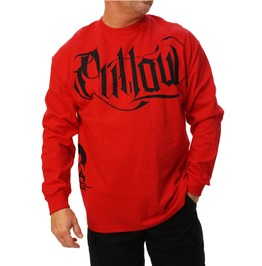 Script Red Long Sleeve Mens Tee