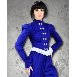 Blue Frilly 1880s Picnic Blouse Ladies Medieval Victorian Shirt $9 To Ship