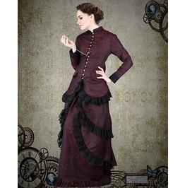 Burgundy Brocade Dinner Blouse Ladies Medieval Victorian Shirt $9 To Ship