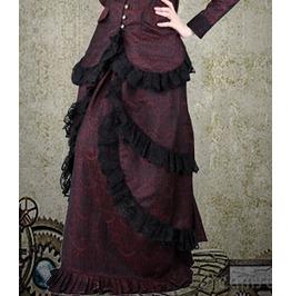 Burgundy Brocade Dinner Skirt Ladies Medieval Victorian $9 To Ship