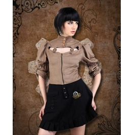 Beige Puff Sleeved Steampunk Blouse Ladies Victorian Corset Back Top
