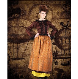 Brown Black Lacy Frilled Steampunk Blouse Ladies Victorian Corset Back Top