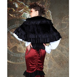 Black Layered Aristocratic Shrug Victorian Countess Bolero Cape $9 To Ship