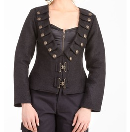 Ladies Black Steampunk Military Lieutenant Cotton Jacket $9 To Ship