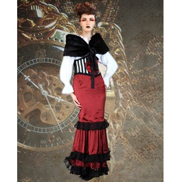 Black Faux Fur Shrug Medieval Jacket Victorian Faux Mink Stole