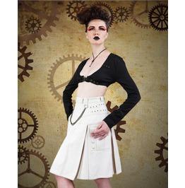 Pleated Off White Steampunk Safari Skirt Punk Chain Rivet Kilt $9 To Ship