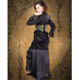 Medieval Lady Victorian Pegged Satin Ruffle Skirt With Train $9 To Ship