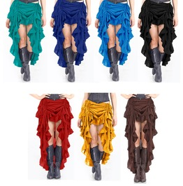 Long Back Short Front Steampunk Burlesque Showgirl Adjustable Ruffle Skirt