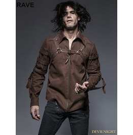 Brown Steampunk Long Sleeves Belt Blouse For Men