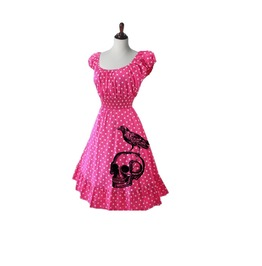 Polka Dot Skull And Raven Pin Up Dress. Regular And Plus Sizes.