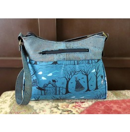Haunted Forest And Ghosts Gabby Handbag With Blue/Gray Cork Accents