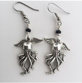 Silver Cthulhu Earrings With Black Glass H.P. Lovecraft Winged Octopus